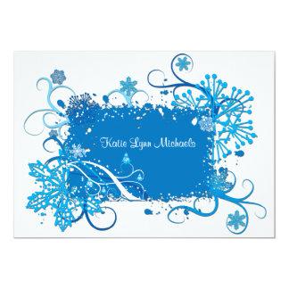 Chá de panela azul gelado convite 12.7 x 17.78cm