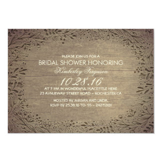 chá de panela botânico floral do vintage rústico convite 12.7 x 17.78cm