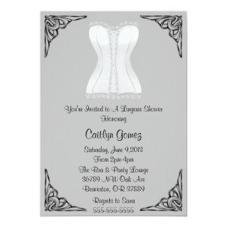 Chá de panela branco da lingerie do espartilho convites personalizados