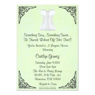 Chá de panela branco da lingerie do espartilho convite personalizados
