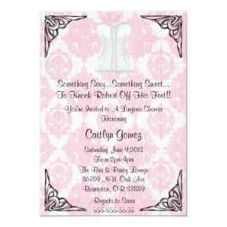 Chá de panela branco da lingerie do espartilho convites personalizado