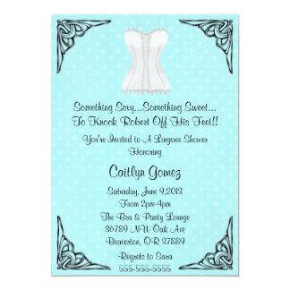 Chá de panela branco da lingerie do espartilho convite