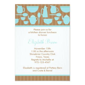 Chá de panela chique da cozinha (cerceta) convite 12.7 x 17.78cm