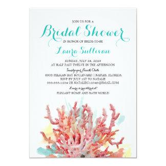 Chá de panela colorido da aguarela   dos recifes convite 12.7 x 17.78cm