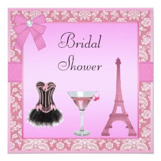 Chá de panela cor-de-rosa chique do espartilho do convite quadrado 13.35 x 13.35cm