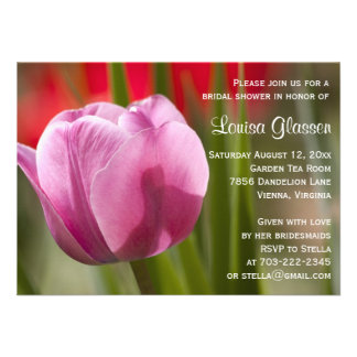 Chá de panela cor-de-rosa da flor da tulipa convite personalizado