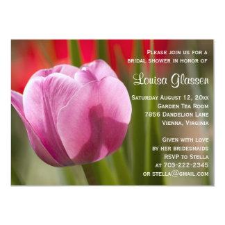 Chá de panela cor-de-rosa da flor da tulipa convite 11.30 x 15.87cm