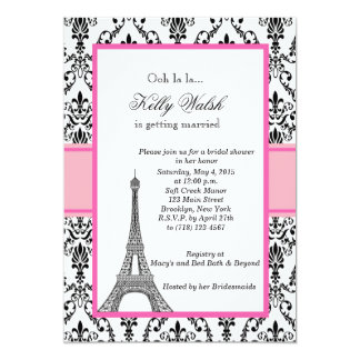 Chá de panela cor-de-rosa de Paris da torre Eiffel Convite 12.7 X 17.78cm