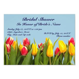 Chá de panela cor-de-rosa e amarelo das tulipas convite 12.7 x 17.78cm