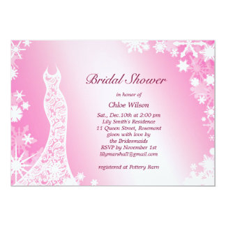 Chá de panela cor-de-rosa macio 3 dos flocos de convite 12.7 x 17.78cm
