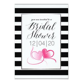 Chá de panela cor-de-rosa Pinstriped elegante Convite 12.7 X 17.78cm