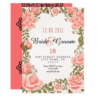 Chá de panela coral doce do jardim de rosas convite 12.7 x 17.78cm