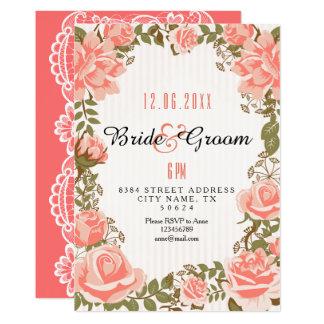 Chá de panela coral elegante do jardim de rosas convite 12.7 x 17.78cm
