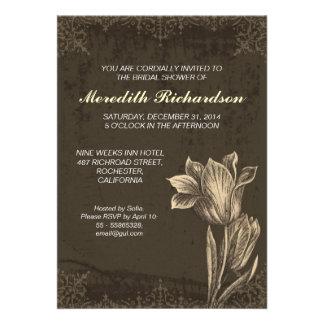 chá de panela da flor da tulipa do vintage convites