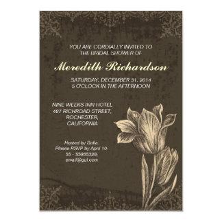 chá de panela da flor da tulipa do vintage convite 12.7 x 17.78cm