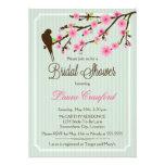 Chá de panela da flor de cerejeira e do pássaro convite personalizados
