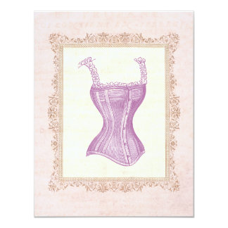 Chá de panela da lingerie do espartilho do convite personalizado