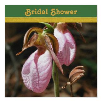 Chá de panela da orquídea de senhora deslizador convite quadrado 13.35 x 13.35cm