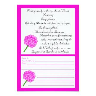 Chá de panela da receita - cartão cor-de-rosa da convite 12.7 x 17.78cm