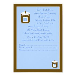 Chá de panela da receita - monograma azul convite 12.7 x 17.78cm