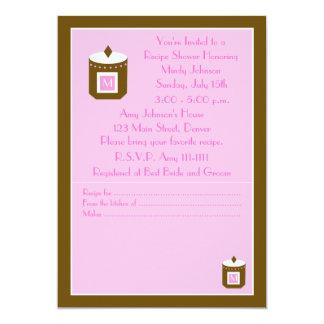Chá de panela da receita - rosa convite 12.7 x 17.78cm