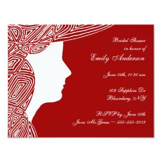 Chá de panela da senhora Vermelho Convite 10.79 X 13.97cm