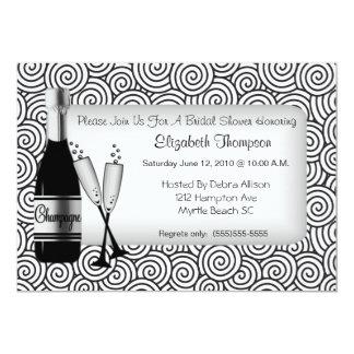 Chá de panela de Champagne Convite 12.7 X 17.78cm