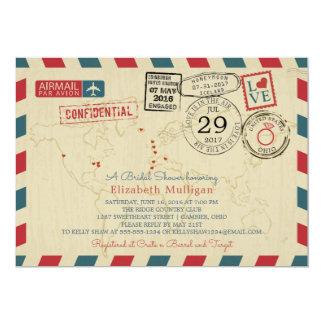Chá de panela do correio aéreo | do viajante de convite 12.7 x 17.78cm