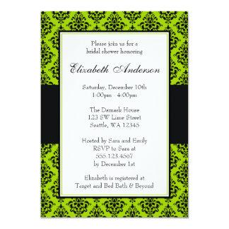 Chá de panela do damasco do verde limão e do preto convite 12.7 x 17.78cm