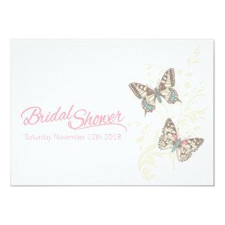 Chá de panela do gráfico de duas borboletas convite 11.30 x 15.87cm