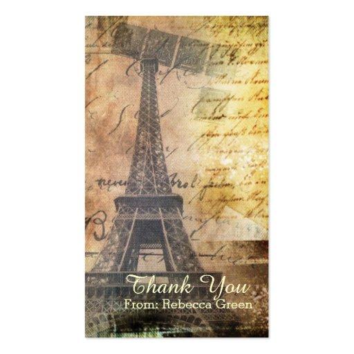 chá de panela do vintage da torre Eiffel de Paris Modelo Cartões De Visitas