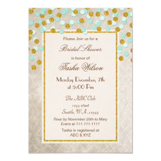 Chá de panela dos confetes do ouro da hortelã do convite 12.7 x 17.78cm