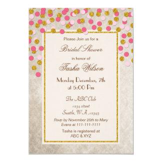Chá de panela dos confetes do ouro do rosa do convite 12.7 x 17.78cm