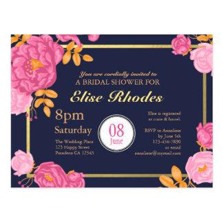 Chá de panela dourado floral cor-de-rosa doce do cartão postal