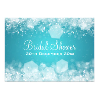 chá de panela elegante azul da noite Sparkling 7x5 Convites Personalizado