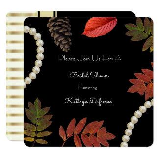 Chá de panela elegante do outono convite quadrado 13.35 x 13.35cm
