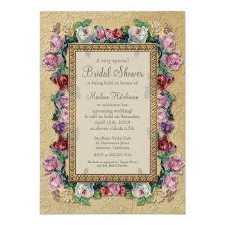 Chá de panela elegante formal floral de brocado do convite 12.7 x 17.78cm
