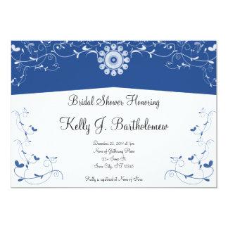Chá de panela floral branco azul do Flourish Convite 12.7 X 17.78cm