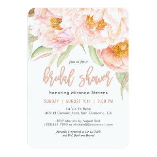 Chá de panela floral da aguarela cor-de-rosa convite 12.7 x 17.78cm