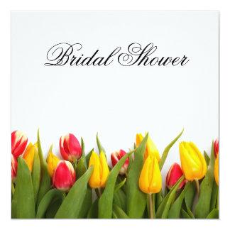 Chá de panela floral das tulipas convite quadrado 13.35 x 13.35cm