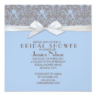 Chá de panela floral do damasco de Brown&Blue do Convite Quadrado 13.35 X 13.35cm