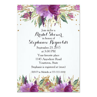 Chá de panela floral do primavera Amethyst Convite 12.7 X 17.78cm