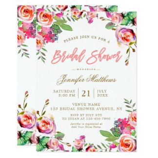 Chá de panela floral do roteiro do rosa da convite 12.7 x 17.78cm