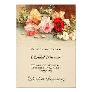 Chá de panela floral do vintage das flores antigas convite 12.7 x 17.78cm
