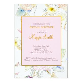 Chá de panela floral esboçado convite 12.7 x 17.78cm