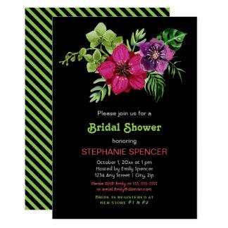 Chá de panela floral verde roxo do rosa quente convite 12.7 x 17.78cm