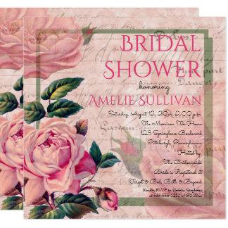 Chá de panela francês floral cor-de-rosa das convite quadrado 13.35 x 13.35cm