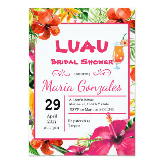 Chá de panela havaiano de Luau Convite 12.7 X 17.78cm