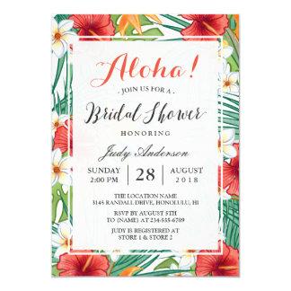 Chá de panela havaiano tropical do hibiscus Aloha Convite 12.7 X 17.78cm