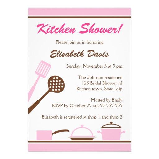Chá de panela marrom cor-de-rosa retro da cozinha convites personalizado